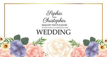 Hochzeitseinladung mit goldenem Blumenrahmen vektor