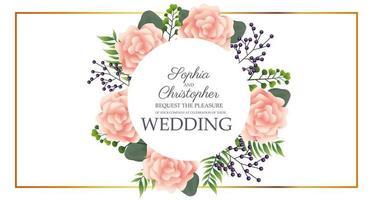 Hochzeitseinladung mit kreisförmigem Blumenrahmen vektor
