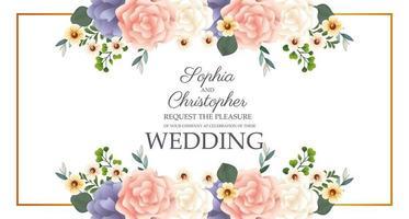 Hochzeitseinladung mit rechteckigem Blumenrahmen vektor