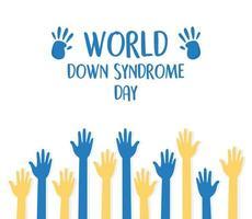 Welt-Down-Syndrom-Tag. blaue und gelbe Hände