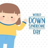 Welt-Down-Syndrom-Tag. Mädchen auf gepunktetem Hintergrund