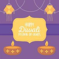 glad diwali festival. hängande lyktor och diyalampor vektor