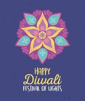 fröhliches Diwali Festival. Mandala Blumen Dekoration