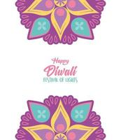 glad diwali festival av ljus. blommig mandala dekoration vektor