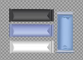 uppsättning färgade förpackningspåsar och påsar vektor