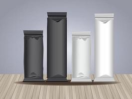 svarta och vita påsepackningsprodukter
