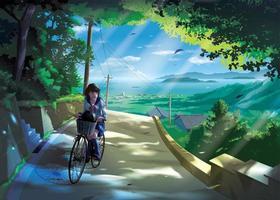 Mädchen, das Fahrrad auf einer Straße in der Landschaft fährt vektor