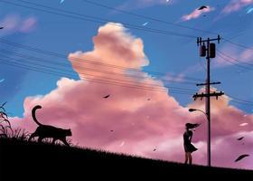 Mädchen, das auf der Straße in der Landschaft am Abend steht vektor