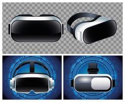fyra tillbehör för virtual reality-masker vektor