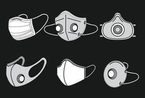 Satz von medizinischen Gesichtsmasken vektor