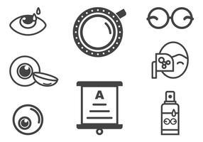 Optometri och ögonhälsa ikoner vektor