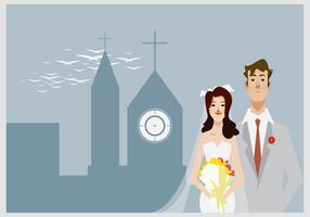 Bruden och brudgummen står framför kyrkan Illustration vektor