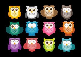 Söt Owl Vector Icons