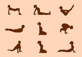 Silhouette der Yoga-Haltung Vektoren