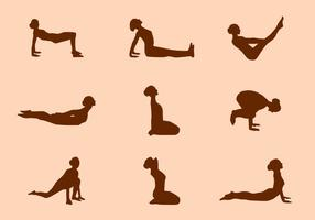 Silhuett av Yoga poserar vektorer