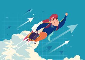 Super-Geschäftsmann Fliegen Vektor