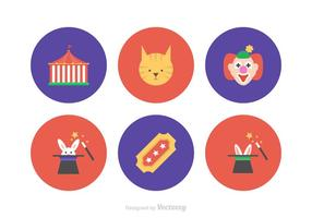 Cirkus Flat Vector Icons