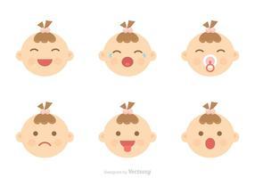 Baby-Gesichtsausdruck Icons Vector
