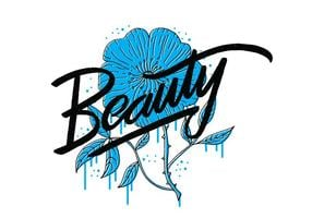 Schönheit Blaue Blume Beschriftung vektor