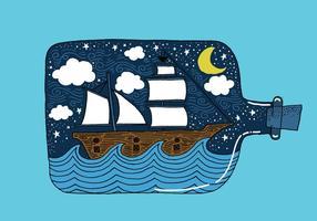 Hand gezeichnete Schiff in einer Flasche Vektor