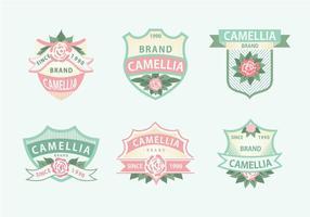 Camellia Blumen Rosa Grün Weich Farbe Label Vektor