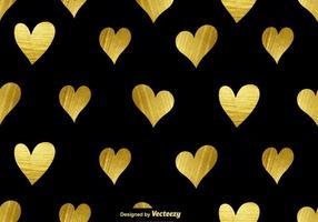 Vector gyllene hjärtan sömlösa mönster
