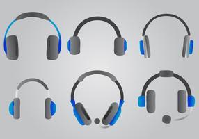 Blau Kopfhörer Vector Set