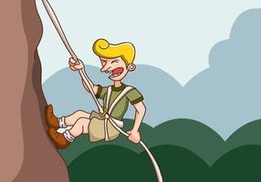 Rock klättrare hänger på en klippa vektor