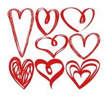 Vector handritad hjärtan