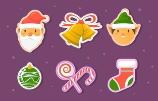 niedliche Weihnachtselementaufklebersammlungen vektor