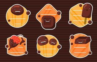 söt choklad klistermärke samling