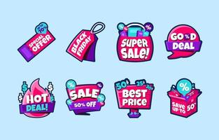roligt klistermärkepaket för shopping svart fredag