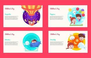 Fantasieland-Bannerkarte für Kindertag vektor
