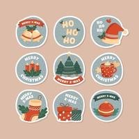 flera gåvor och dekoration för snöig julfest