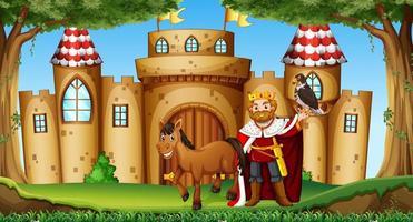 König und Pferd auf der Burg vektor
