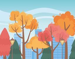 Landschaft im Herbst. Parkbäume, Lampen und Stadtbild