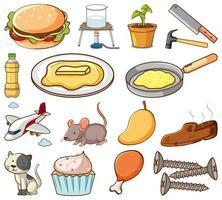 Satz von zufälligen Nahrungsmitteln, Tieren und Gegenständen vektor