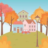 Landschaft im Herbst. Häuser, Auto, Bäume und Lampe