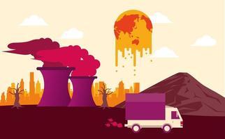 Alarm für die globale Erwärmung mit dem Planeten in der Krise vektor