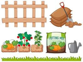 uppsättning trädgårdsodlingselement
