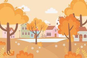 Landschaft im Herbst. Dorf, Straße, Fahrrad und Häuser