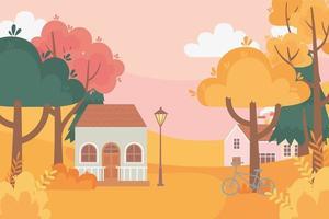 Landschaft im Herbst. Häuser, Fahrrad, Lampe und Bäume