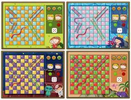 uppsättning av orm och stege spel med fyra bakgrunder