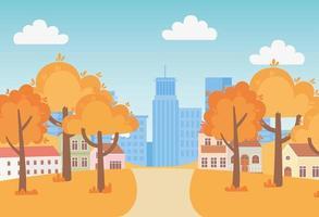 Landschaft im Herbst. Vorstadthäuser und Stadtbild