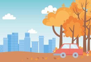 Landschaft im Herbst. Auto, Pilze, Bäume und Stadtbild