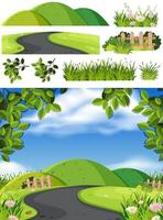 natur scen bakgrund med vägen i parken vektor