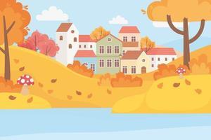Landschaft im Herbst. Dorfhäuser, Bäume und Blätter