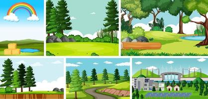 uppsättning tecknade landskap