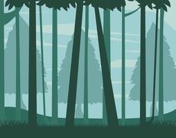 neblige Waldlandschaftshintergrund vektor