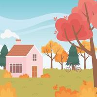 Landschaft im Herbst. Haus mit Kamin und Fahrrad